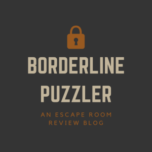 "Logo displays an orange padlock with the text ""Borderline Puzzler"" underneath, with ""an escape room review blog"" written in orange below."